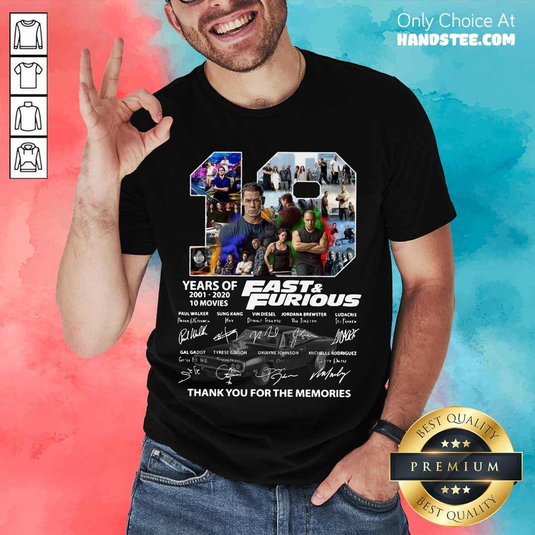 Fast And Furious 19 Years Thank You For The Memories Signatures Shirt- Design By Handstee.com