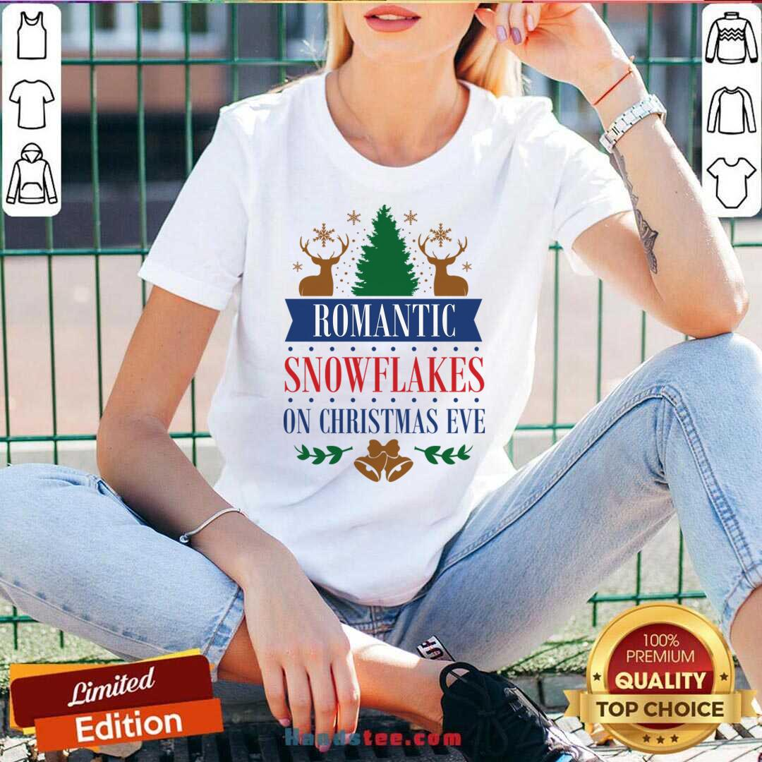 Romantic Snowflakes On Christmas Eve V-neck- Design By Handstee.com