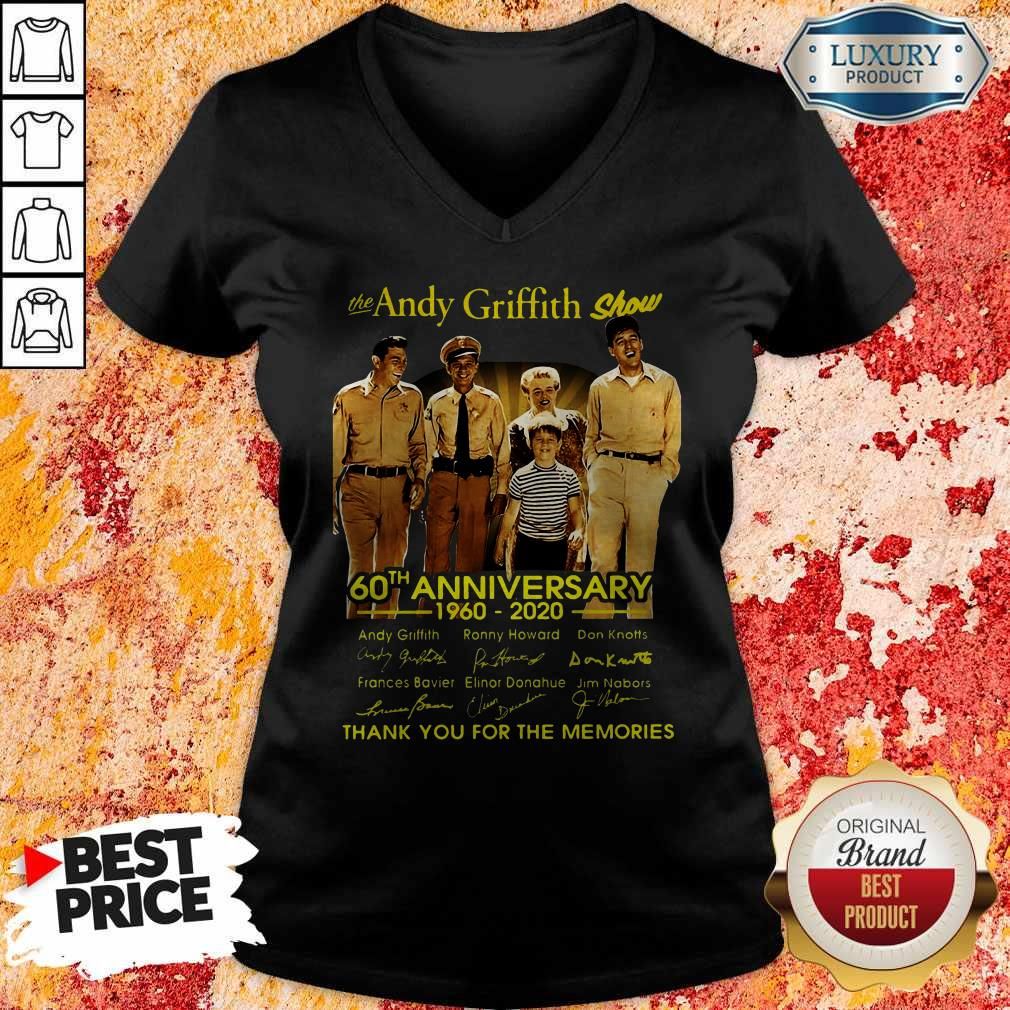 The Andy Griffith Show 60th Anniversary 1960 2020 Thank You For The Memories Signatures V-neck