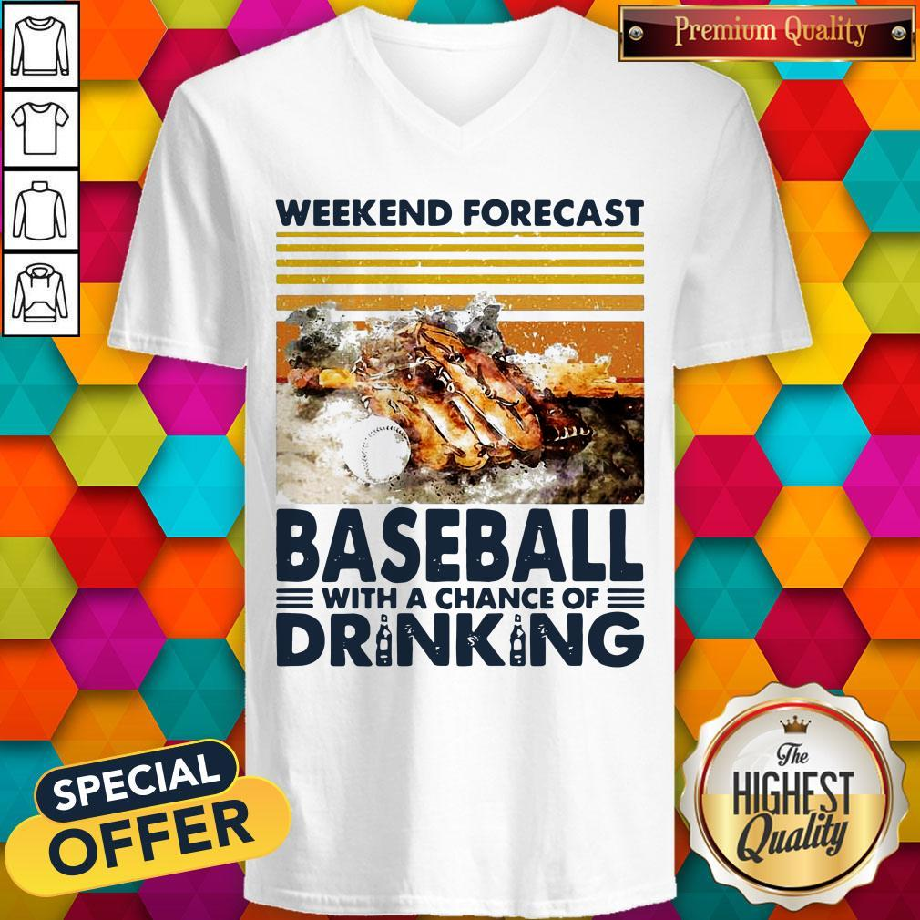 Weekend Forecast Baseball With A Chance Of Drinking V-neck
